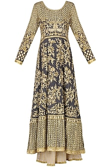 Grey Embroidered Anarkali with Beige Sharara Pants Set