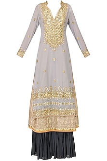 Powder Blue Embroidered Kurta with Navy Blue Sharara Pants Set