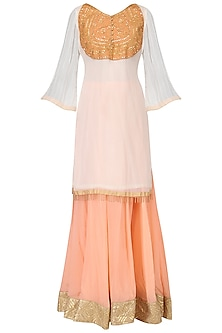 White Embroidered Kurta with Peach Lehenga Set
