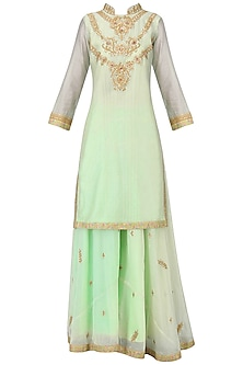 Pastel Green Embroidered Lehenga Set