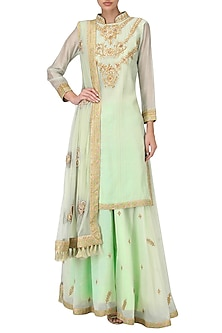 Pastel Green Embroidered Lehenga Set by Bodhitree Jaipur
