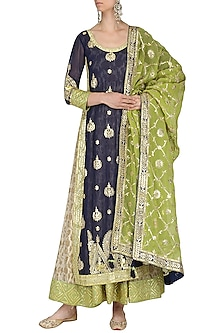 Navy Blue and Pear Green Embroidered Kurta Set by Bodhitree Jaipur