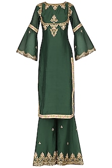 Emerald Green Embroidered Sharara Pants Set