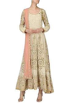 Seashell White Embroidered Anarkali Gown by Bodhitree Jaipur