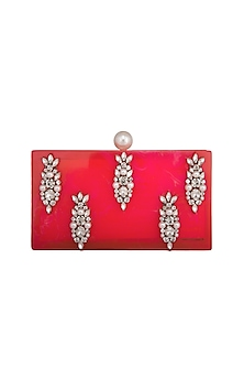 Hot Pink Crystal Butta Embroidered Clutch by Be Chic