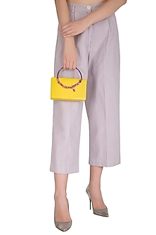 Yellow Clutch With Statement Handle by Be Chic