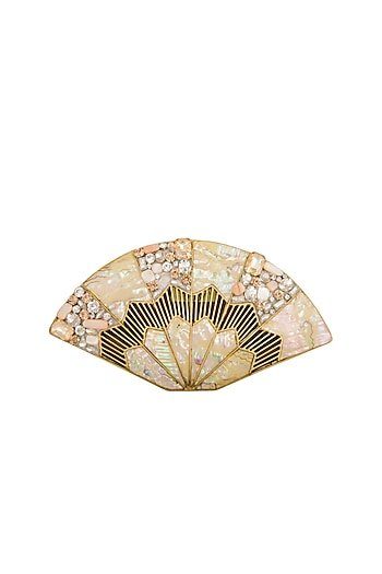 Dull Gold Pearl Embellished Clutch by Be Chic
