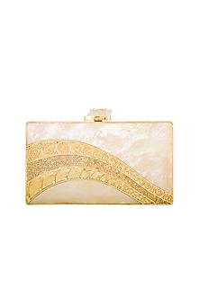 Gold Handcrafted Clutch by Be Chic