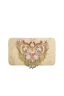 Pearl Gold Embroidered Clutch by Be Chic