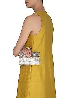 Silver Handcrafted Embroidered Clutch by Be Chic