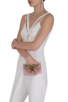 Ivory Pink Embroidered Clutch by Be Chic