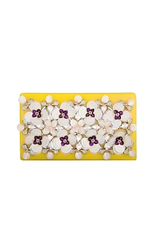Yellow Embroidered Clutch by Be Chic
