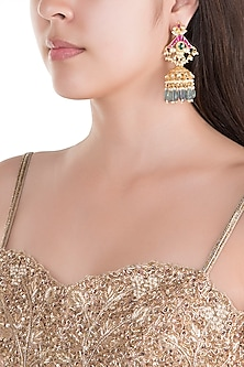 Gold Finish Kundan & Mint Green Stone Drop Earrings by Belsi's Jewellery