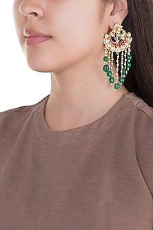 Gold Finish Kundan & Green Stone Drop Earrings by Belsi's Jewellery