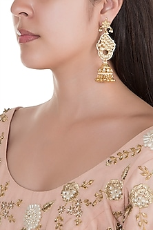 Gold Finish Kundan Peacock Earrings by Belsi's Jewellery