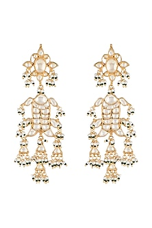 Gold Finish Kundan Fish Shaped Earrings by Belsi's Jewellery