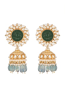 Gold Finish Kundan & Green Stone Jhumka Earrings by Belsi's Jewellery