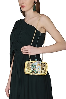 Gold Crystals and Beads Embellished Clutch