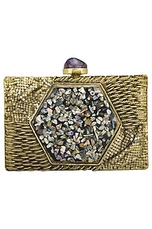 Dull Gold Mother Of Pearls Embellished Clutch by Be Chic