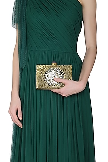 Dull Gold Mother Of Pearls Embellished Clutch