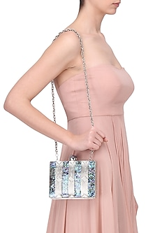 Blue and Silver Striped Metal Clutch by Be Chic