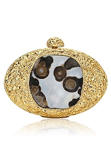 Gold Beaten Metal and Natural Stone Oval Clutch by Be Chic