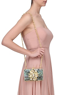 Gold Metal and Grey Mother Of Pearl Square Clutch by Be Chic