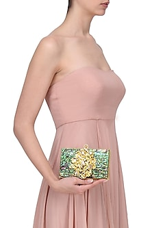 Gold Metal and Abalone Shell Square Clutch by Be Chic