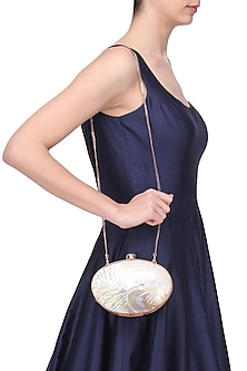 Gold Metal Mother Of Pearl Oval Clutch by Be Chic