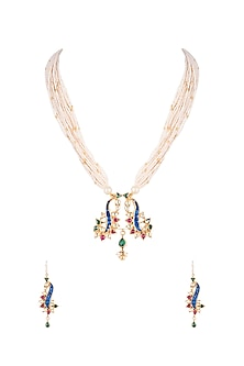 Gold Finish Blue Kundan & Pearl Strings Necklace Set by Belsi's Jewellery