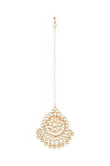 Gold Finish Kundan Maang Tikka by Belsi's Jewellery