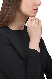 Gold Plated Zircon and Jade Stone Ring