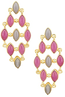 Gold Plated Purple Jade and Grey Stone Earrings by Belsi's Jewellery