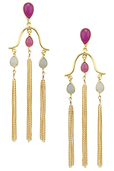 Gold Plated Aqua Chalcedony, Jade Stone and Tassels Earrings by Belsi's Jewellery
