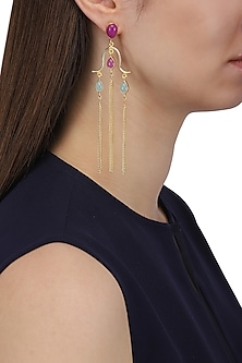 Gold Plated Aqua Chalcedony, Jade Stone and Tassels Earrings