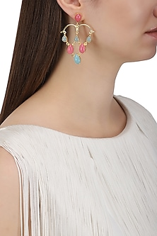 Gold Plated Aqua Chalcedony and Pink Jade Stone Earrings