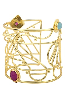 Gold Plated Aqua Chalcedony and Jade Stone Filigree Handcuff by Belsi's Jewellery