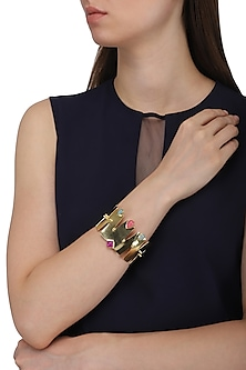 Gold Plated Aqua Chalcedony and Jade Stone Handcuff by Belsi's Jewellery