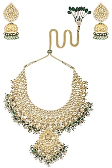 Gold Plated Kundan Necklace Set by Belsi's Jewellery
