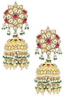 Gold Plated Pink and Green Stone Earrings by Belsi's Jewellery