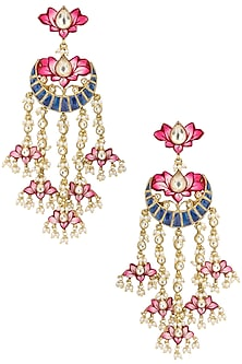 Gold Plated Lotus Dangler Earrings by Belsi's Jewellery
