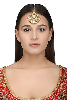 Gold Plated White Kundan Maangtika