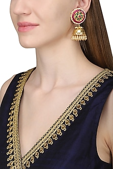 Gold Plated Kundan and Pearl Earrings