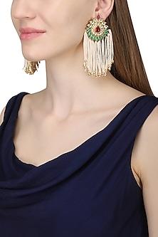 Gold Plated Long Pearl Tassel Earrings