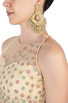 Gold plated kundan and pearl jhumki earrings by BELSI'S JEWELLERY