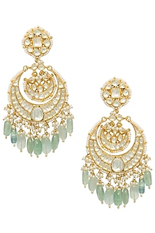 Gold plated kundan and green beads chandbali earrings by BELSI'S JEWELLERY
