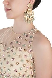 Gold plated kundan and green beads chandbali earrings