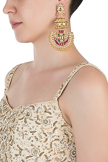 Gold plated kundan and pink beads chandbali earrings