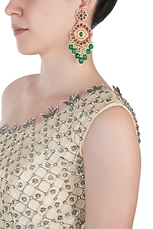 Gold plated kundan and pink beads jadau earrings by BELSI'S JEWELLERY