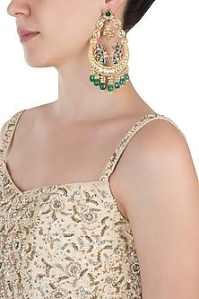 Gold plated kundan and green beaded chandbali earrings